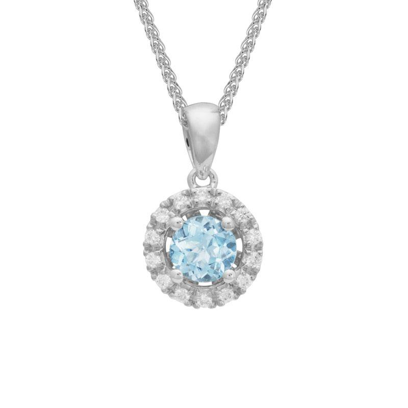 Artistry Limited Aquamarine and Diamond Halo Pendant