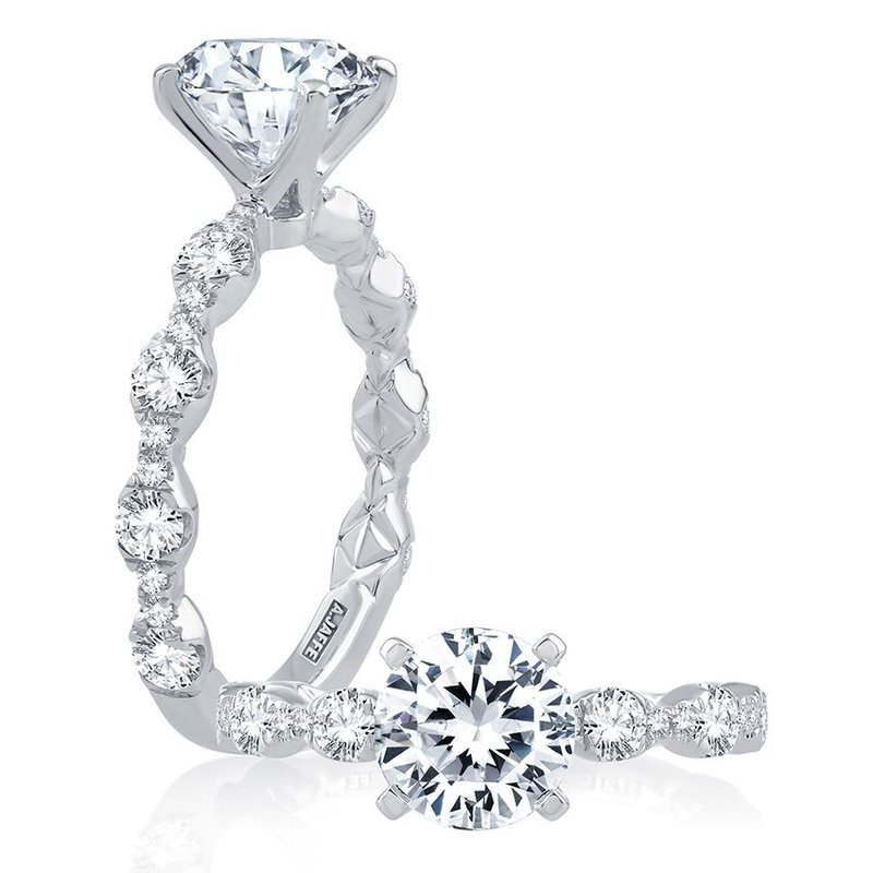 A. Jaffe Diamond Engagement Ring with Scalloped Band