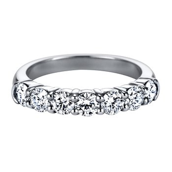 Mutual Prong Round Diamond Seven-Stone Band with Half-Bezel Shoulders