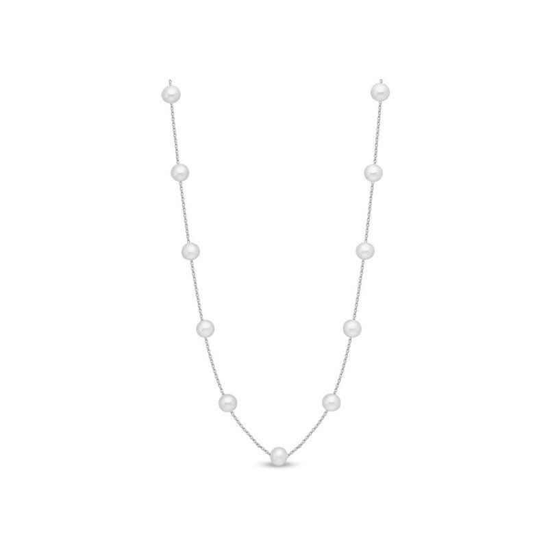 Mastoloni Pearls White Gold Tin Cup Pearl Necklace