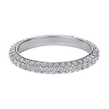 Rounded Three-Row Pave Diamond Eternity Band