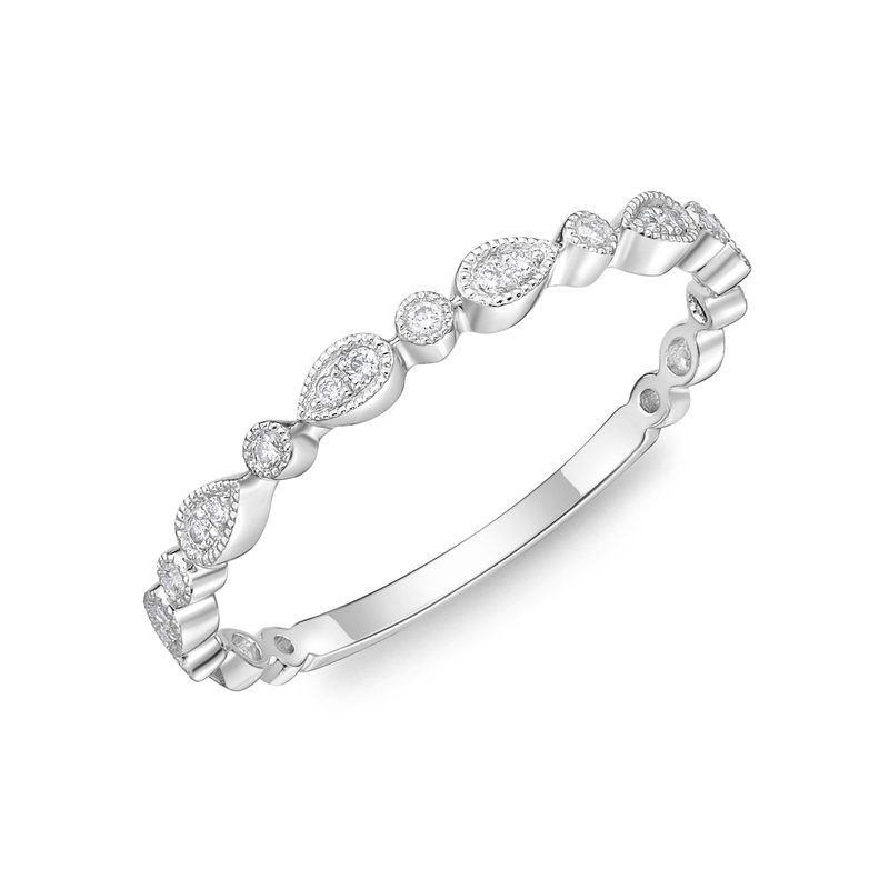 Memoire Vintage Diamond Round & Illusion Stacking Band