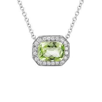Peridot and Diamond Halo Necklace