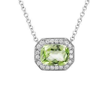 Peridot and Diamond Halo Necklace
