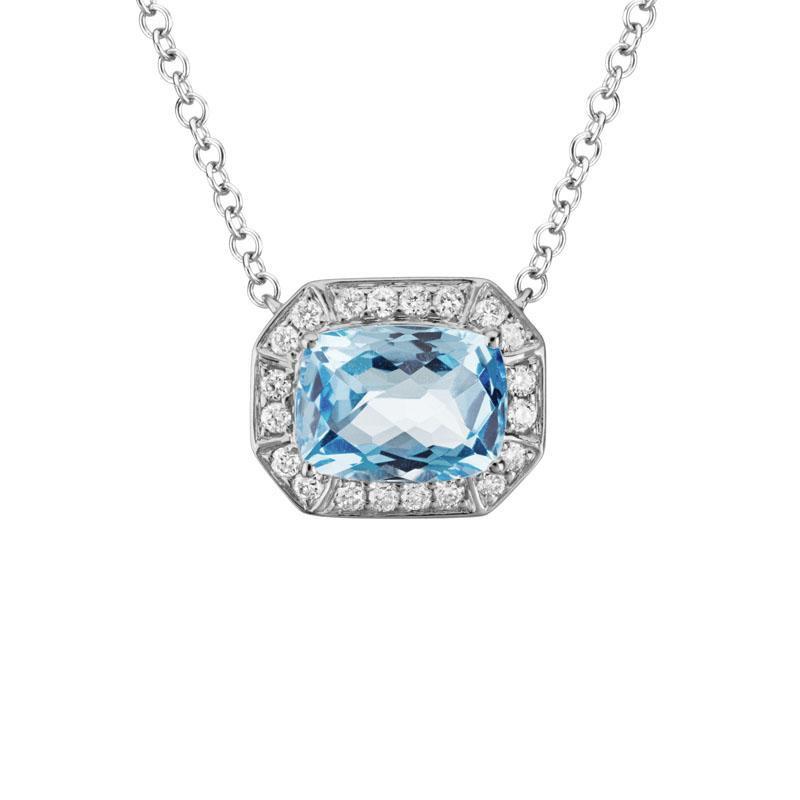 Artistry Limited Aquamarine and Diamond Halo Necklace
