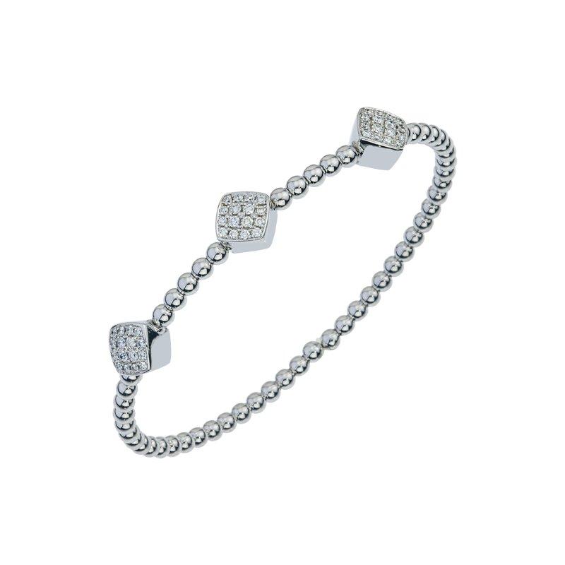 DA Gold Three Cluster Diamond Cuff Bracelet
