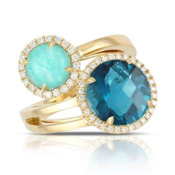 Amazonite and London Blue Topaz Ring