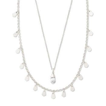 Freida Silver Multi Strand Necklace In White Howlite