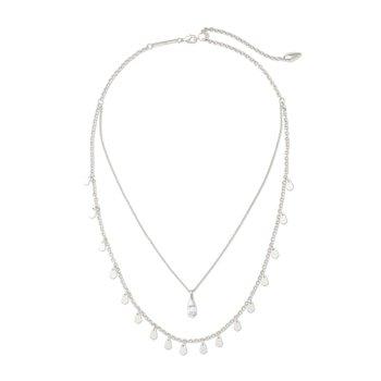 Freida Silver Multi Strand Necklace In White Howlite
