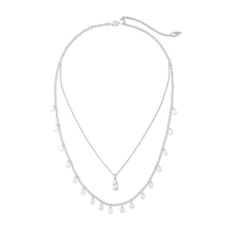 Kendra Scott Freida Silver Multi Strand Necklace In White Howlite