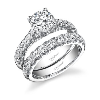 Tapered Fishtail Set Diamond Engagement Ring and Matching Wedding Band