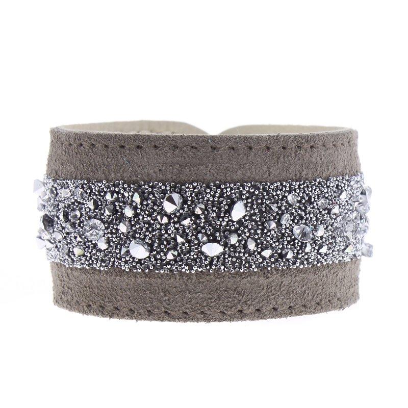 Les Interchangeables Medley Crystal Leather Roll Up Bracelet