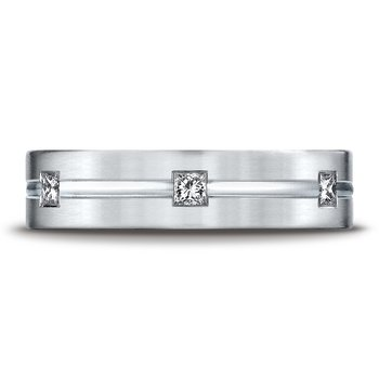 Gents 14kt white gold diamond wedding band
