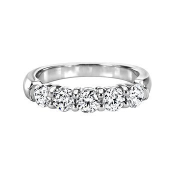 Mutual Prong Round Diamond Five-Stone Band with Pinched Half-Bezel Shoulders