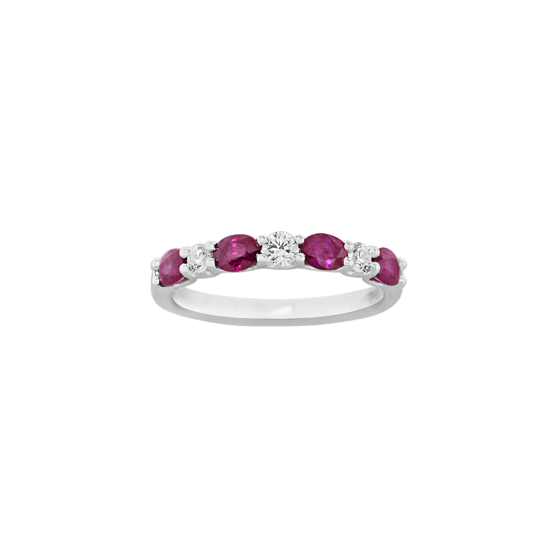 Spark Creations Ruby and Diamond 7-Stone Ring