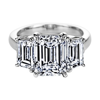 Emerald Cut Diamond Three Stone Ring with Step-Cut Trapezoid Diamond Sides