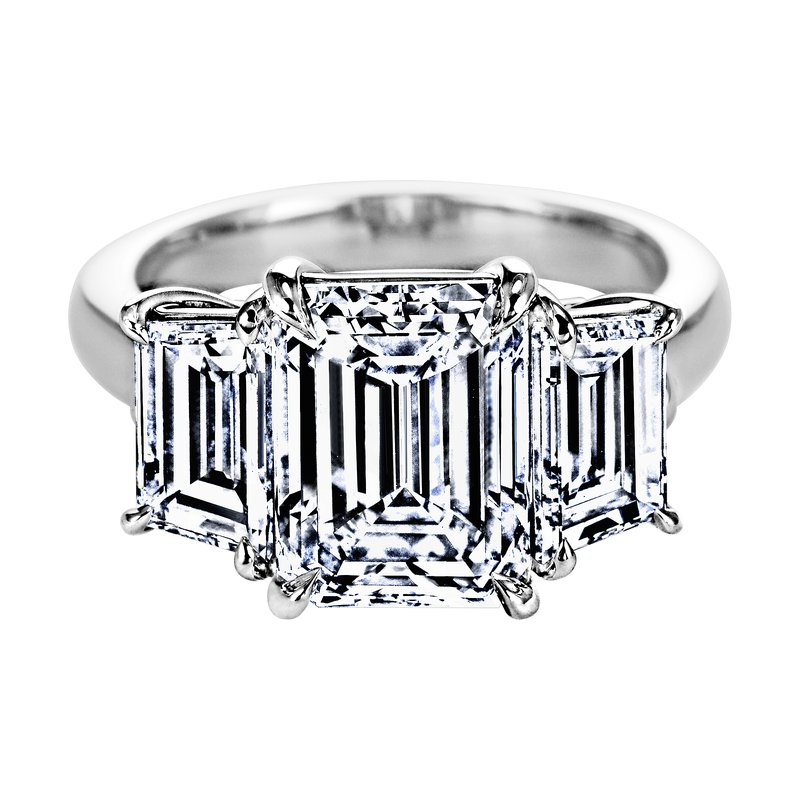Sasha Primak Emerald Cut Diamond Three Stone Ring with Step-Cut Trapezoid Diamond Sides