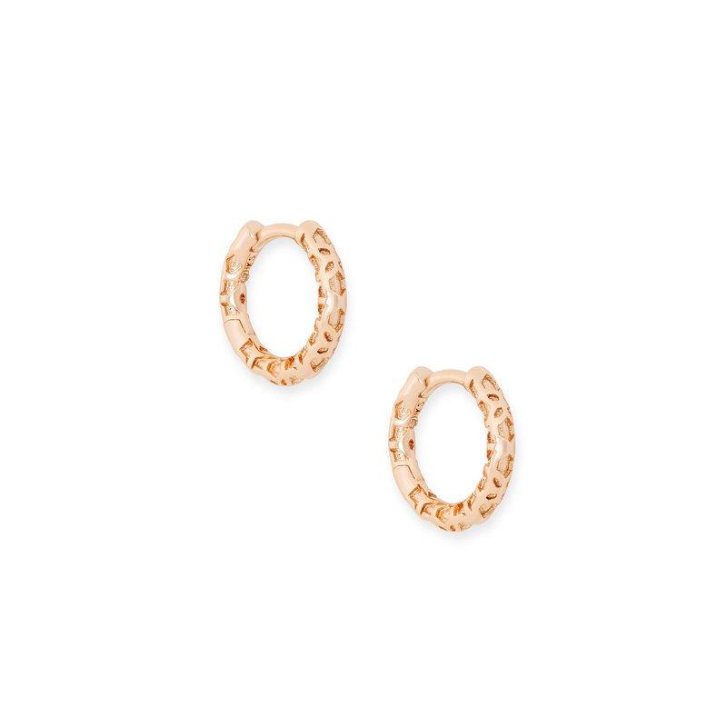 Kendra Scott Maggie Huggie Earrings Rose Gold Filigree