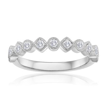 Round and Square Diamond Stacking Band