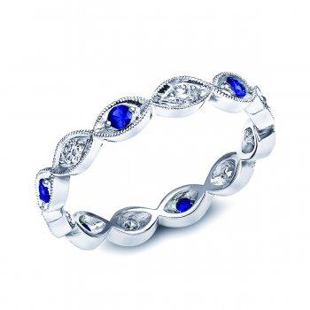 Blue Sapphire and Diamond Band