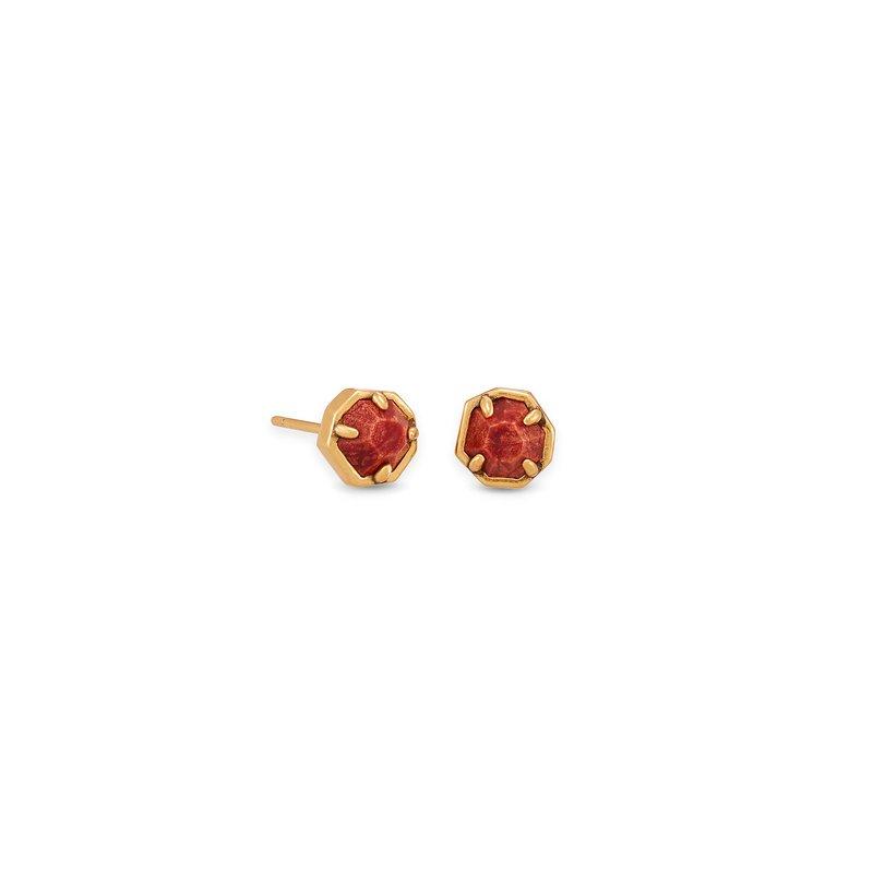 Kendra Scott Nola Vintage Gold Stud Earrings In Burnt Sienna Howlite
