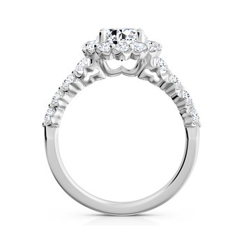 "Nine-Stone ""Royal Prong"" Round Halo Diamond Engagement Ring"