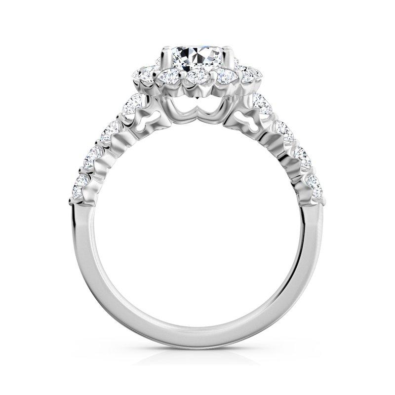"""Sasha Primak Nine-Stone """"Royal Prong"""" Round Halo Diamond Engagement Ring"""