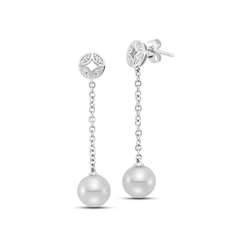 Mastoloni Pearls Cut Out Chain Drop Earrings
