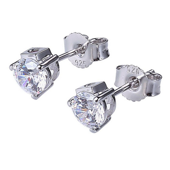 Silver CZ Stud Earrings - White