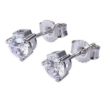 Silver CZ Stud Earrings - White