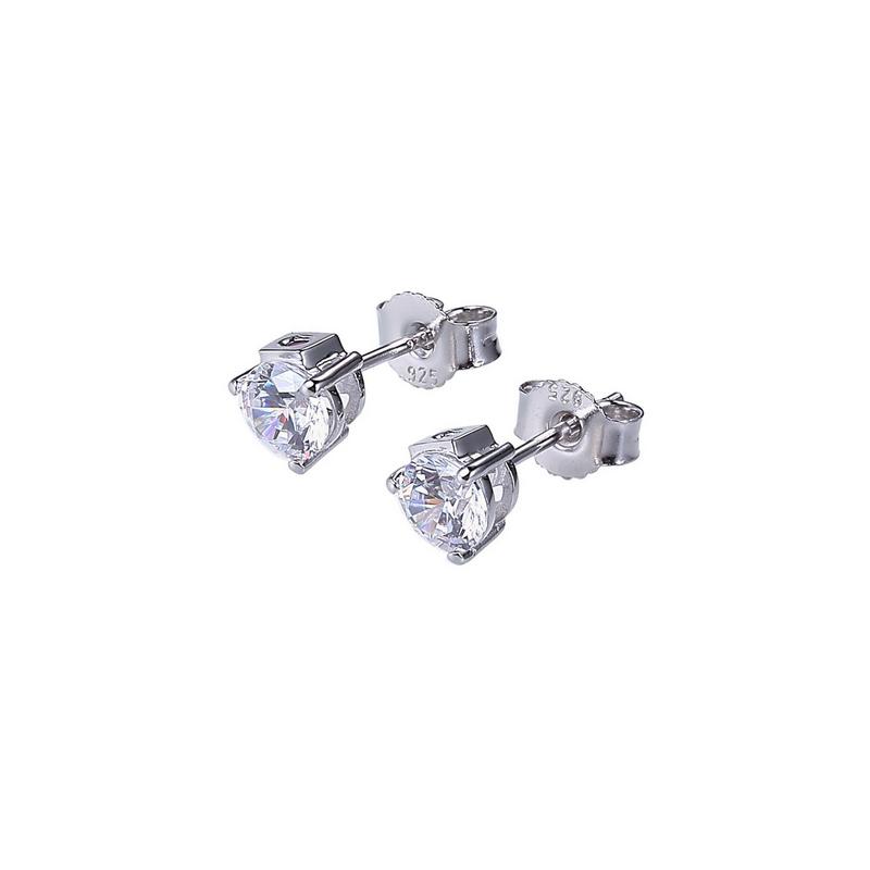 ELLE Silver CZ Stud Earrings - White
