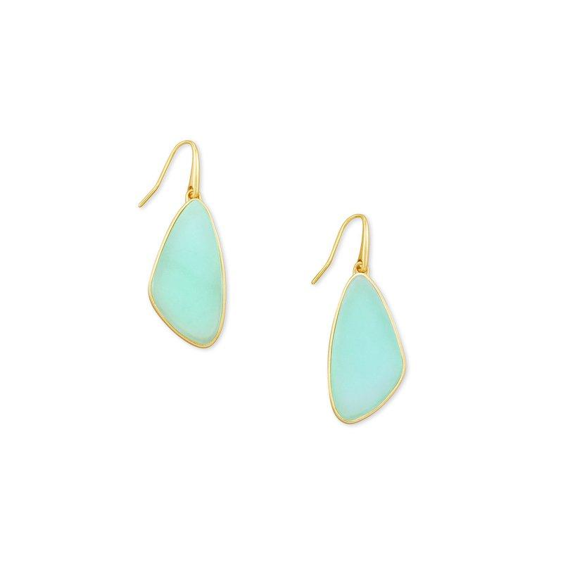 Kendra Scott McKenna Small Drop Earring in Gold Matte Iridescent Mint