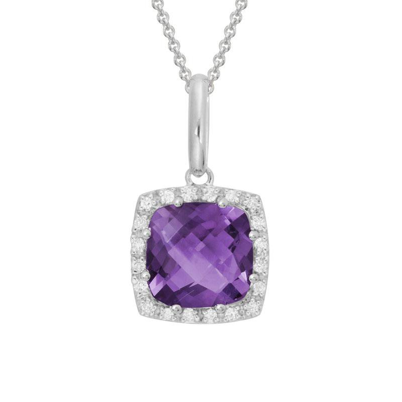 Artistry Limited Amethyst and Diamond Halo Pendant
