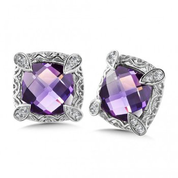 Purple Amethyst Stud Earring