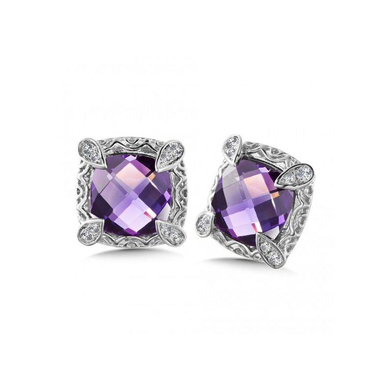 Colore SG Purple Amethyst Stud Earring