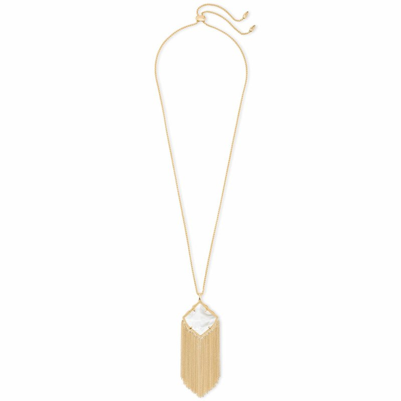 Kendra Scott Kingston Gold Long Pendant Necklace in Ivory Pearl