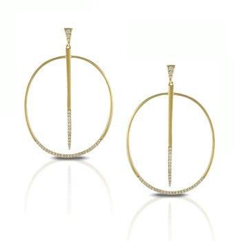 Diamond Fashion Gold Oval Earrings