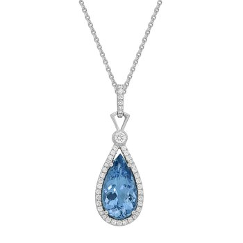Aquamarine One of A Kind Diamond Pendant