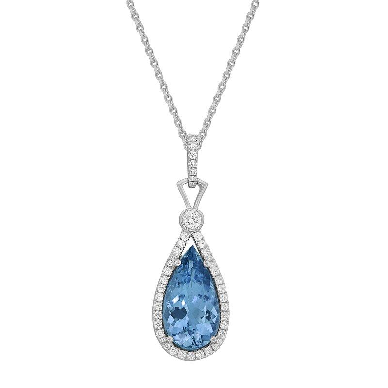 Spark Creations Aquamarine One of A Kind Diamond Pendant