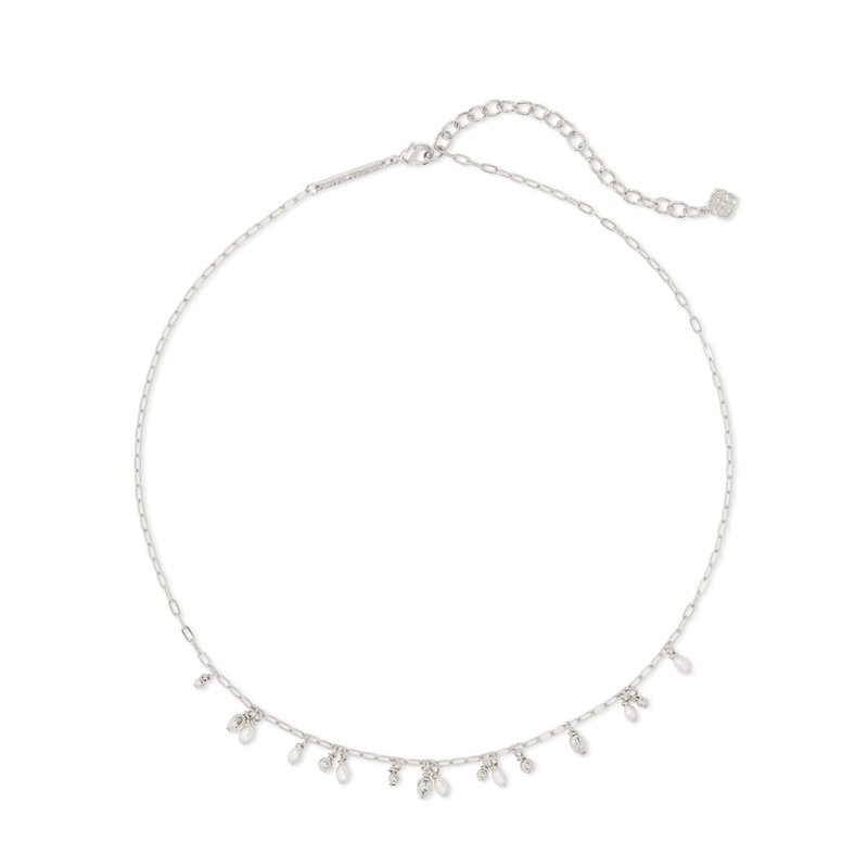Kendra Scott Mollie Choker Necklace Rhodium White Pearl