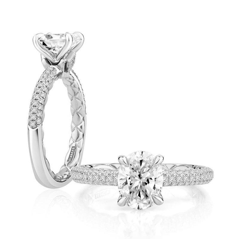 A. Jaffe Opulent Oval Cut Signature Diamond Engagement Ring