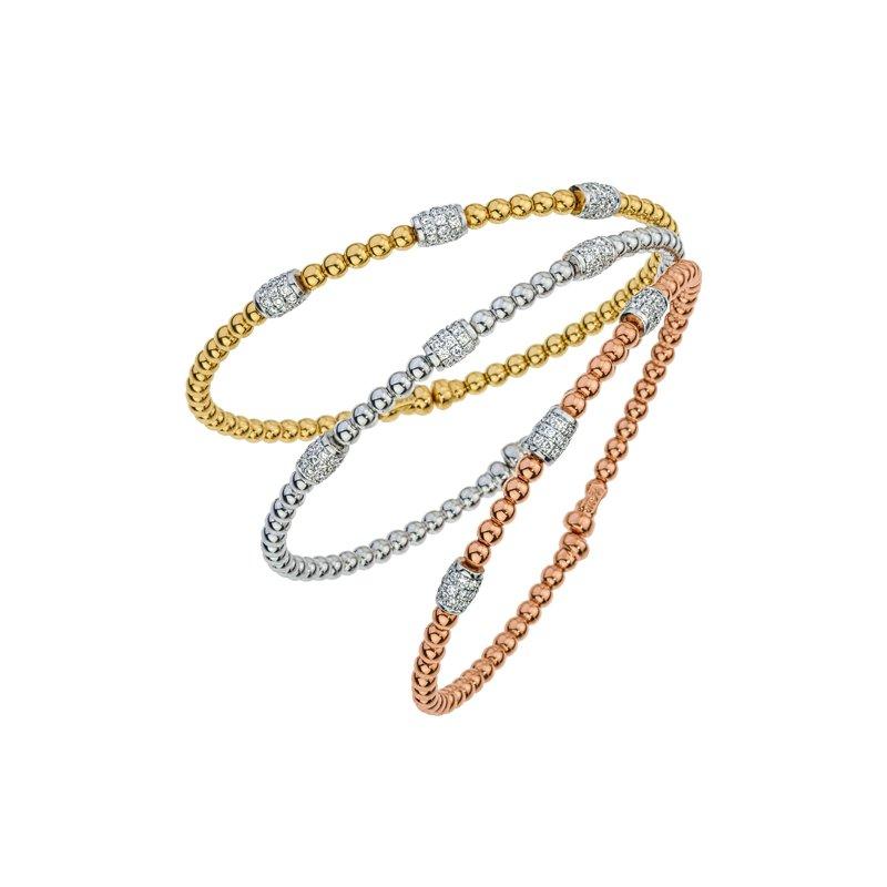 DA Gold Oval Cluster Diamond Beaded Bracelet