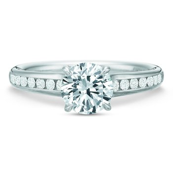 Flush Fit Round Diamond Channel Engagement Ring