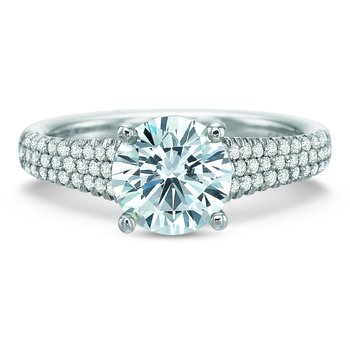 Modern Classic Three Row Diamond Engagement Ring
