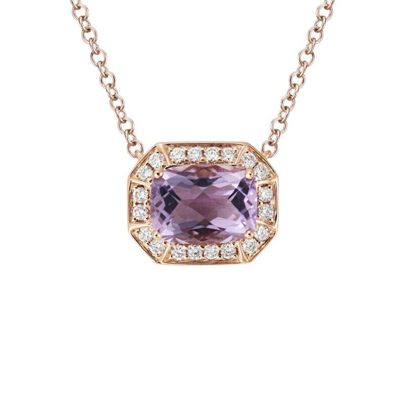 Artistry Limited Amethyst and Diamond Halo Necklace