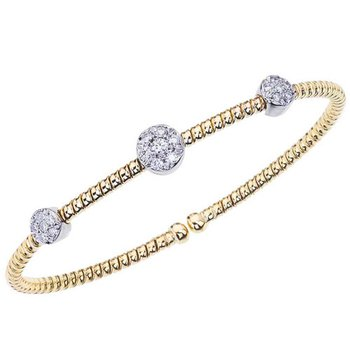 Three Cluster Diamond Cuff Bracelet
