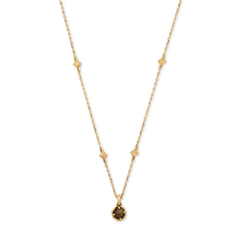 Kendra Scott Nola Short Pendant Necklace in Golden Obsidian