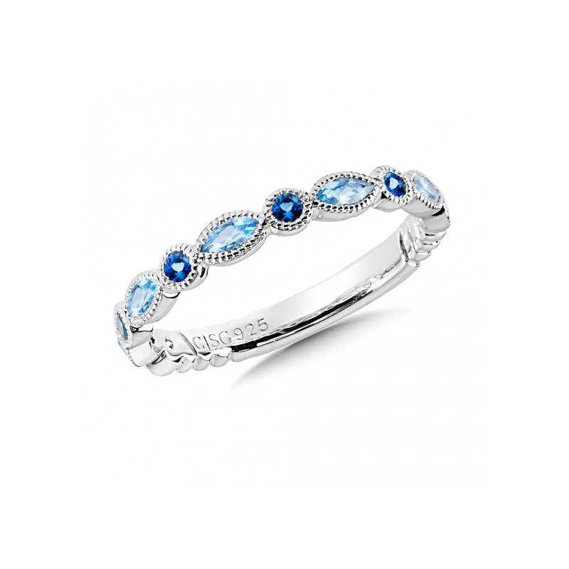 Colore SG Swiss Blue and London Blue Topaz Stacking Ring