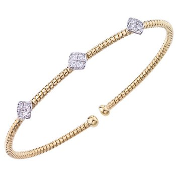 Small Diamond Cluster Cuff Bracelet