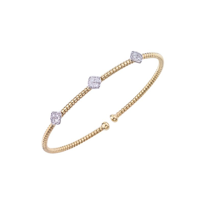 DA Gold Small Diamond Cluster Cuff Bracelet